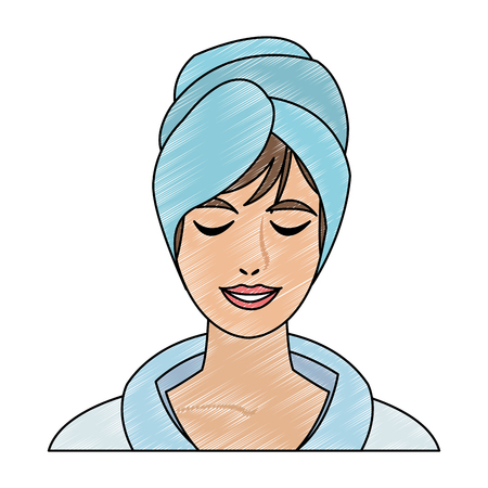 Woman face with towel vector illustration graphic design Illustration
