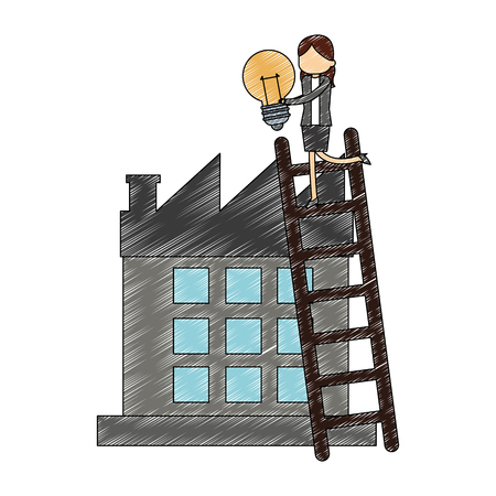 Businesswoman on stairs with bulb and factory vector illustration graphic design