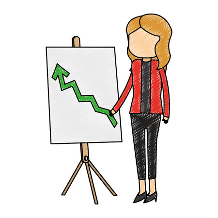 Businesswoman showing statistics growing on whiteboard vector illustration graphic design