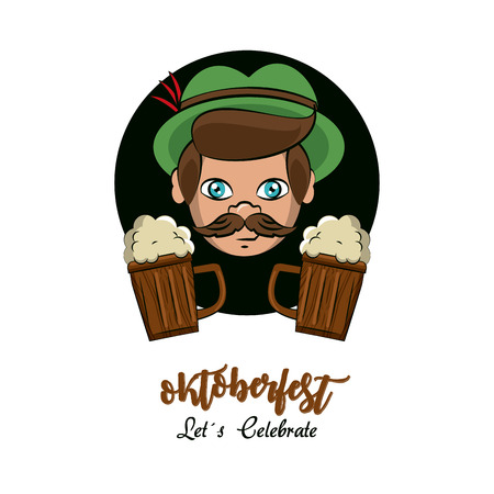 Oktober fest card with elf and beers cartoons vector illustration graphic design Vectores