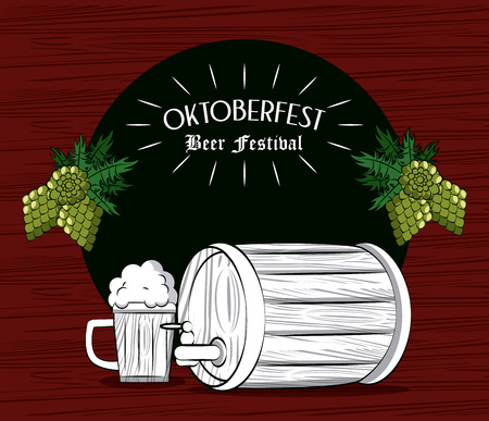 Oktober fest beer festival card with barrel and cup cartoons vector illustration graphic design