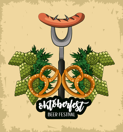 Oktober fest beer festival card with sausages and pretzels cartoons vector illustration graphic design