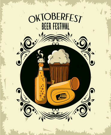 Oktober fest beer festival card with cartoons elements vector illustration graphic design