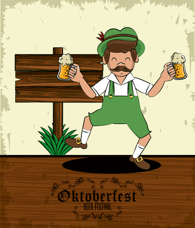 Oktober fest beer festival card with bavarian man cartoon vector illustration graphic design Illustration