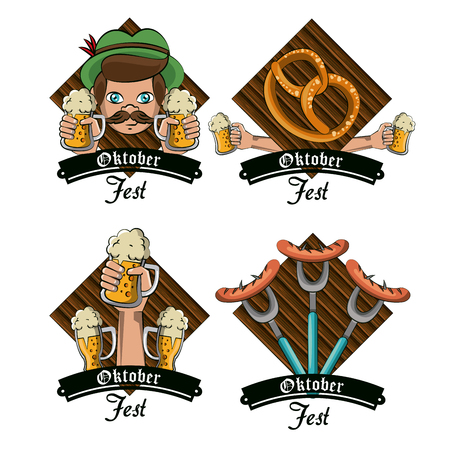 Set of oktober festival cartoons emblems vector illustration graphic design