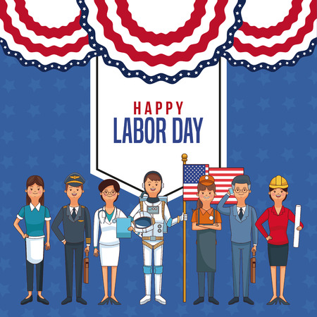 Happy labor day card with people professions and jobs cartoons vector illustration graphic design