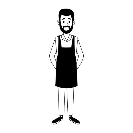 Diseño gráfico del ejemplo del vector de la historieta del hombre del barista Ilustración de vector