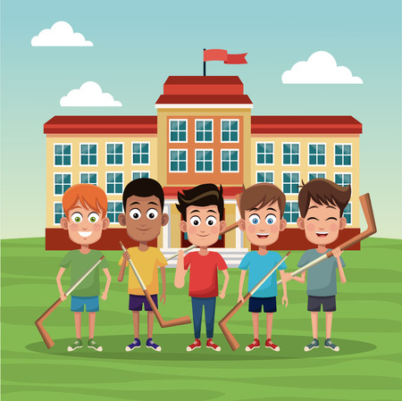 School boys with hockey sticks outside building vector illustration graphic design