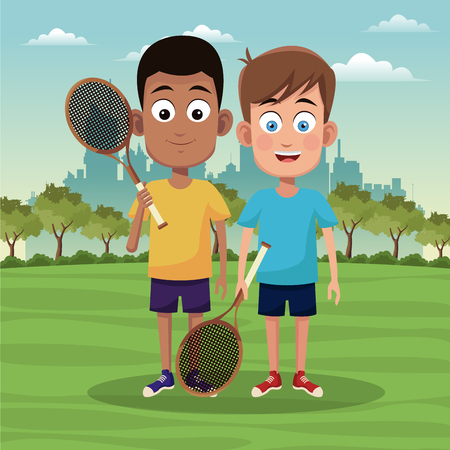 Boys with tennis rackets at city park vector illustration graphic design Illustration