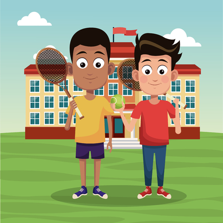 School boys with tennis rackets outside building cartoons vector illustration graphic design