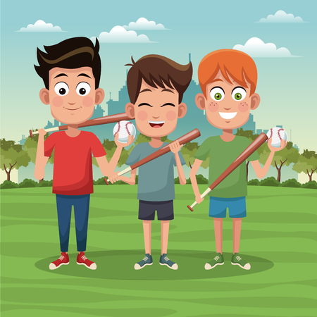 Boys with baseball bats having fun at park vector illustration graphic design