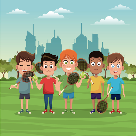 Boys with tennis rackets at city park vector illustration graphic design