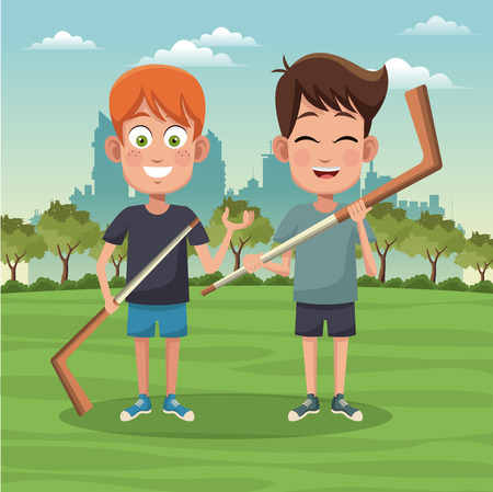 Boys with hocket sticks at park cartoons vector illustration graphic design Illustration