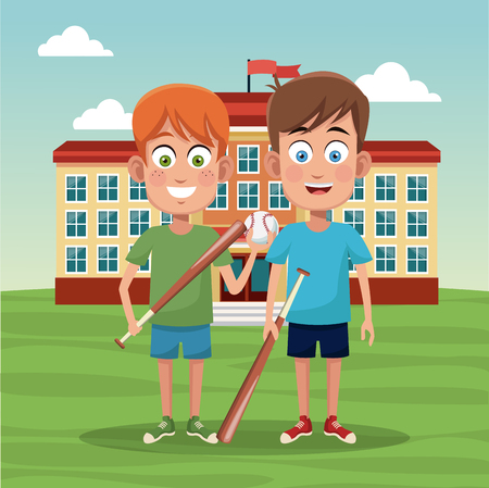 School boys with baseball bats outside building cartoons vector illustration graphic design Illustration