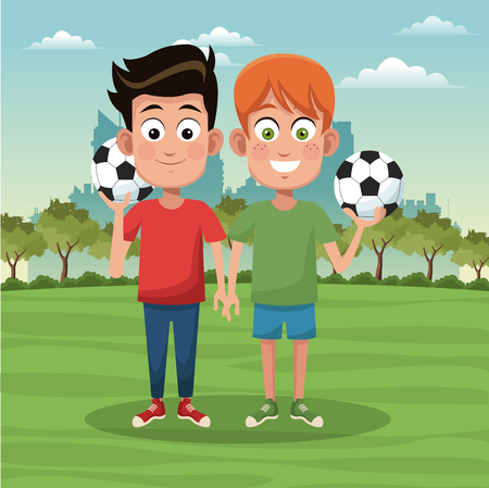 Boys with soccer ball at park cartoons vector illustration graphic design