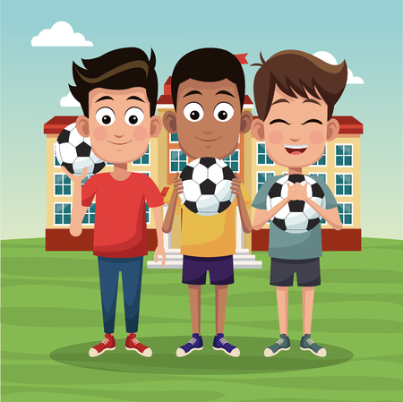 Kids with soccer balls outside of school building cartoons vector illustration graphic design Illustration