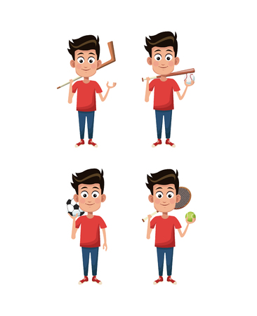 Set of boys with sport equipments cartoons vector illustration graphic design Illustration