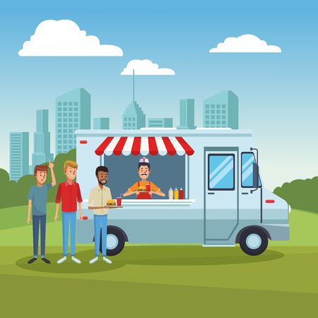 Food truck at park with customers vector illustration graphic design
