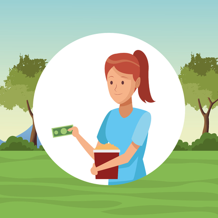 Young woman paying pop corn bucket at park round icon vector illustration graphic design Illustration