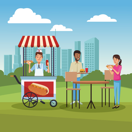 People buying and eating hotdogs at park cartoons vector illustration graphic design