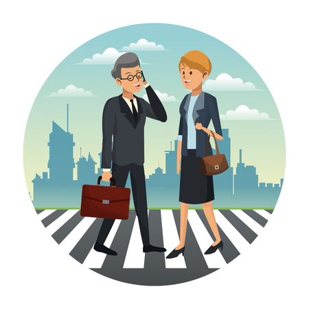 Business People walking on zebra at city cartoons vector illustration graphic design