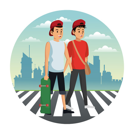 People walking on zebra at city cartoons vector illustration graphic design Illustration