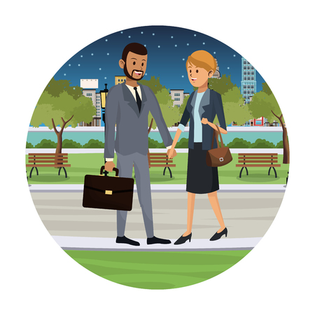 Businessman and businesswoman with bag walking in city at night cartoon round icon vector illustration graphic design