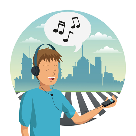 Young man listening music with headphones at city vector illustration graphic design