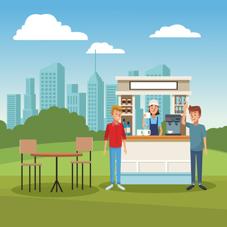Cafe stand at park with customers cartoons vector illustration graphic design