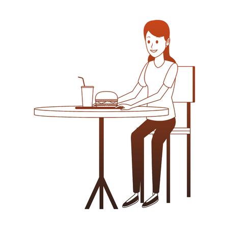 Junge Frau, die Fast-Food-Vektorillustrationsgrafikdesign isst