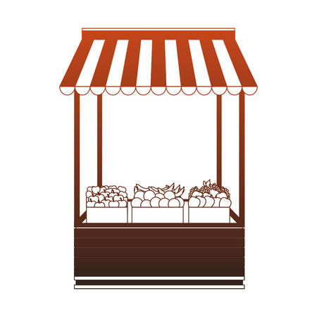 Wooden booth stand vector illustration graphic design