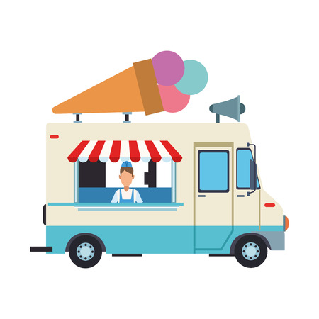 Ice cream truck and man vector illustration graphic design  イラスト・ベクター素材