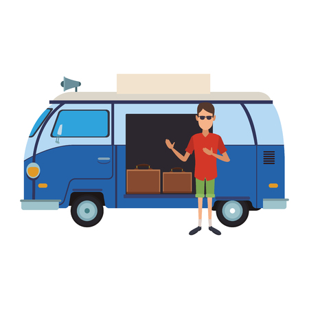 Man with retro van and luggage inside vector illustration graphic design Illustration