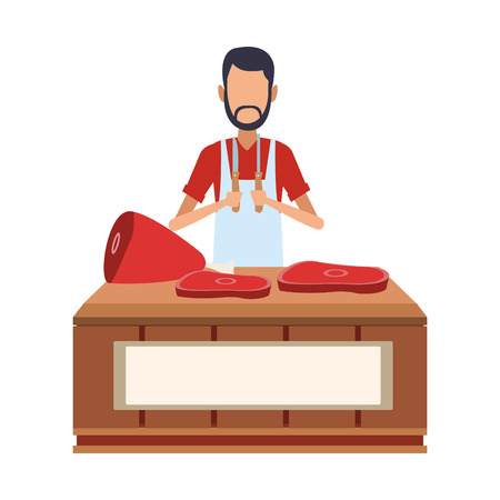 Butcher stand isolated vector illustration graphic design