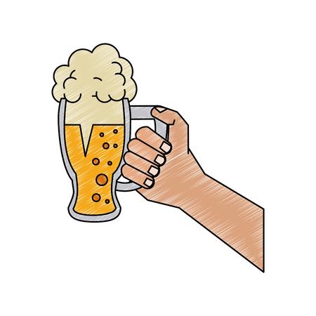 Mano que sostiene el diseño gráfico del ejemplo del vector de la cerveza fría de cristal Ilustración de vector