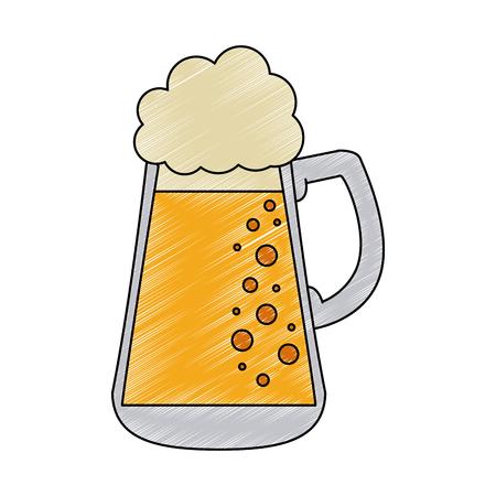 Cold glass beer vector illustration graphic design Ilustração