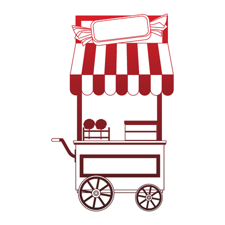 Sugar cotton cart vector illustration graphic design