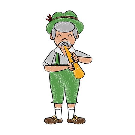 Bavarian playing trombone vector illustration graphic design