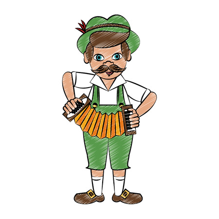 Bavarian playing accordion vector illustration graphic design