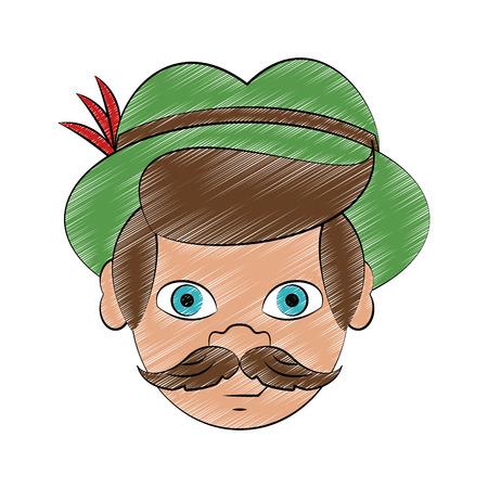 Bavarian man face with hat cartoon vector illustration graphic design