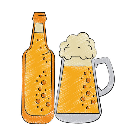 Cold beer cup and bottle vector illustration graphic design