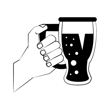 Hand holding beer cup vector illustration graphic design
