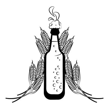 Beer bottle and wheat vector illustration graphic design Ilustração