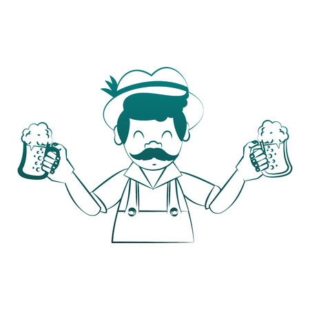 Bavarian man holding beer cups vector illustration graphic design Ilustração