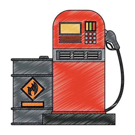 Oil barrel and gas station vector illustration graphic design