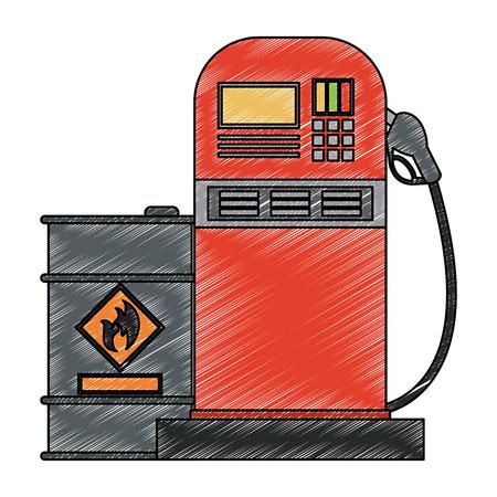 Oil barrel and gas station vector illustration graphic design
