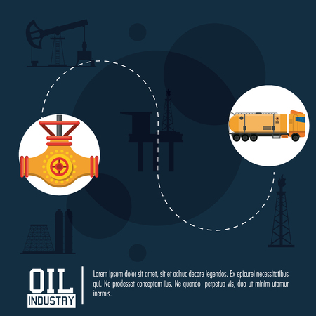 Oil industry poster with information and icons vector illustration graphic design