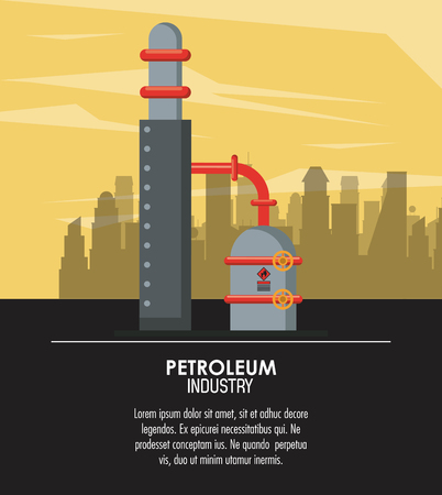Oil and petroleum industry poster with information vector illustration graphic design 일러스트
