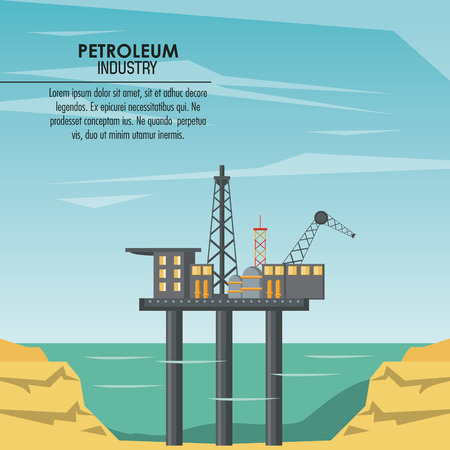 Oil and petroleum industry poster with information vector illustration graphic design Ilustração