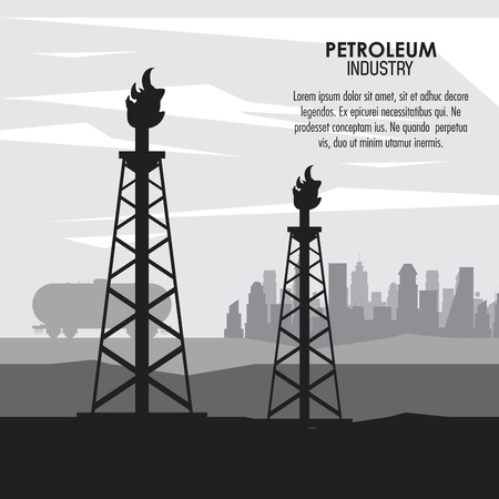 Petroleum industry poster with information vector illustration graphic design